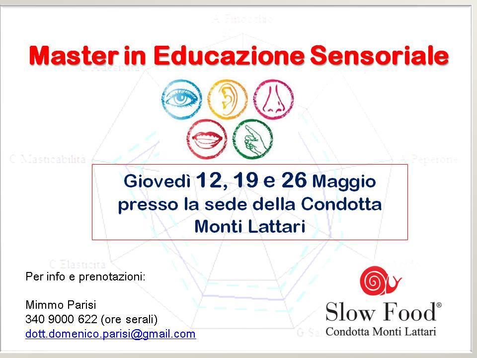 Arriva il Master of Food in Educazione Sensoriale per la Condotta Monti Lattari