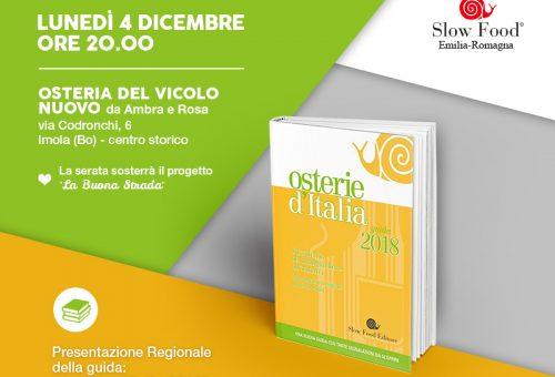 PRESENTAZIONE REGIONALE DELLA GUIDA OSTERIE D'ITALIA 2018,  IL 4 DICEMBRE a IMOLA