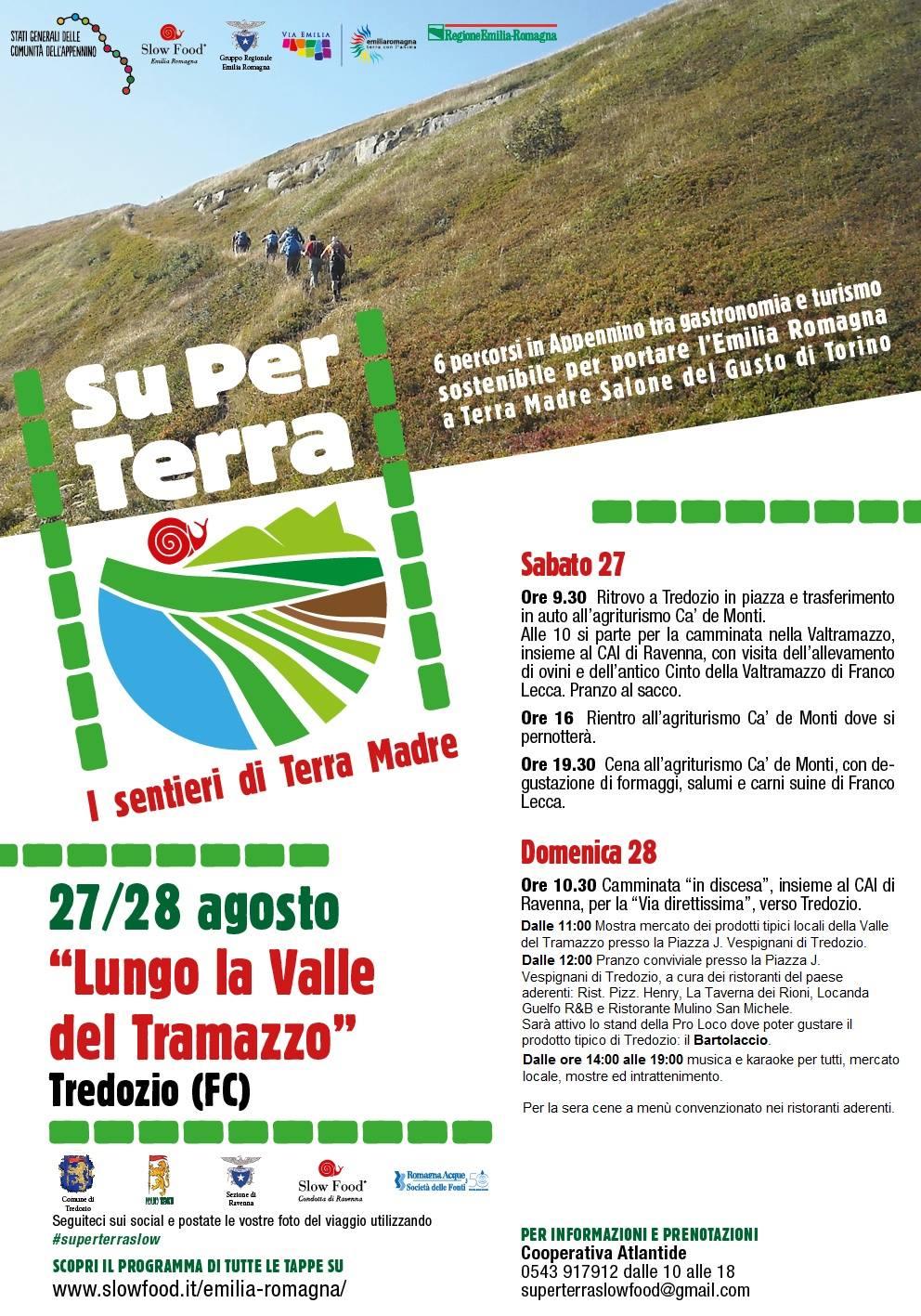 Slow Food Emilia Romagna: doppia tappa  di Su per Terra il 27 e 28 agosto