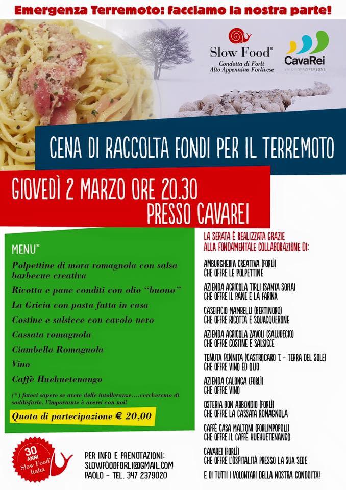 Slow Food Forlì: cena di solidarietà