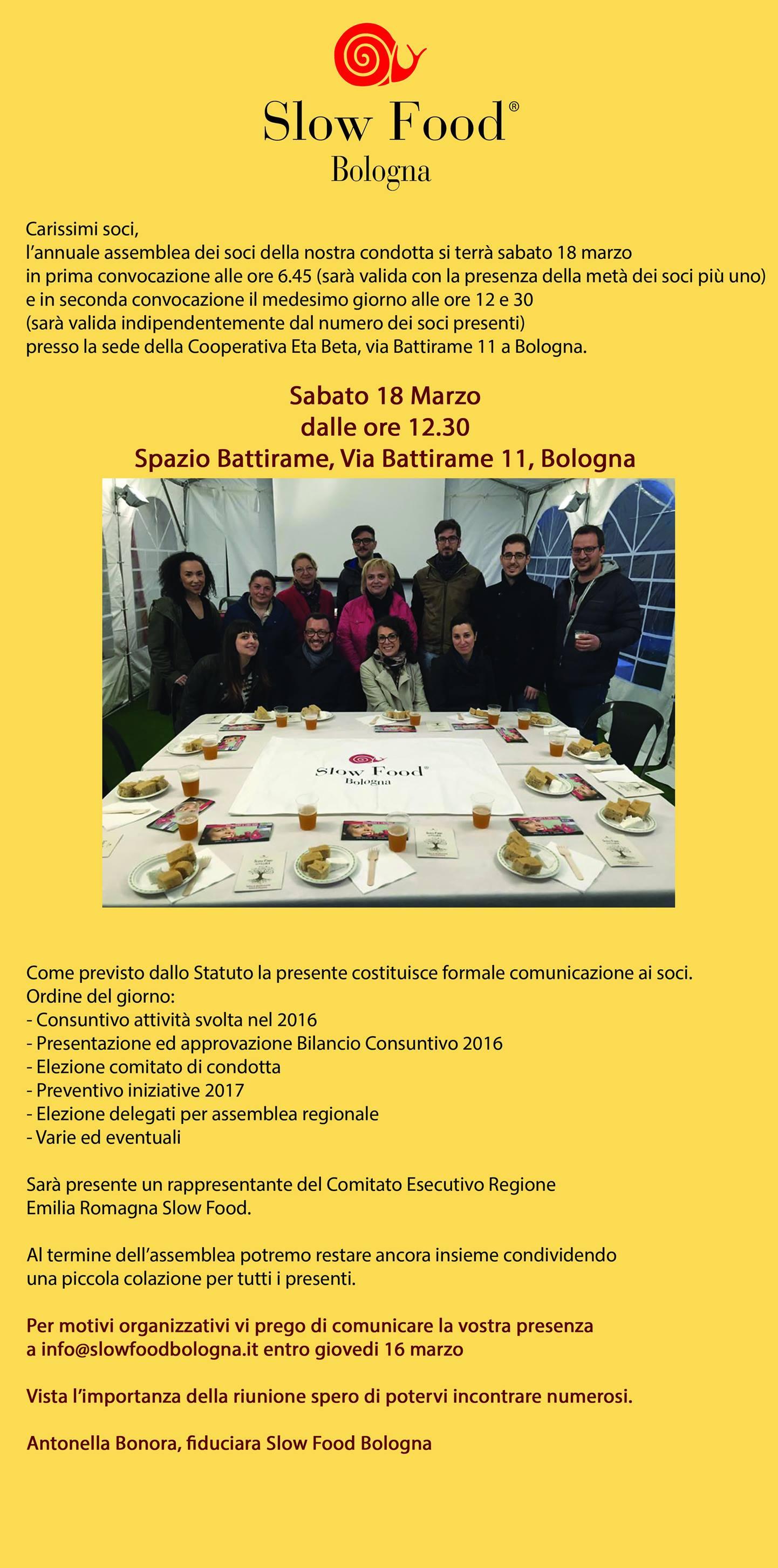 Slow Food Bologna : assemblea!