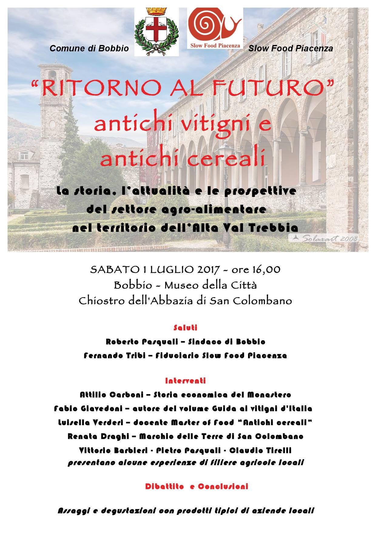 Slow Food Piacenza : antichi vitigni e antichi cereali