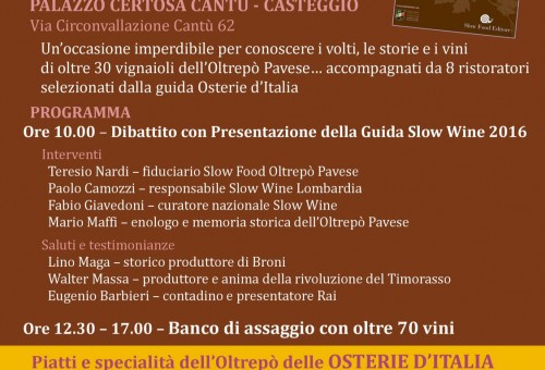 Guide Slow Food: presentazione con degustazione a Casteggio