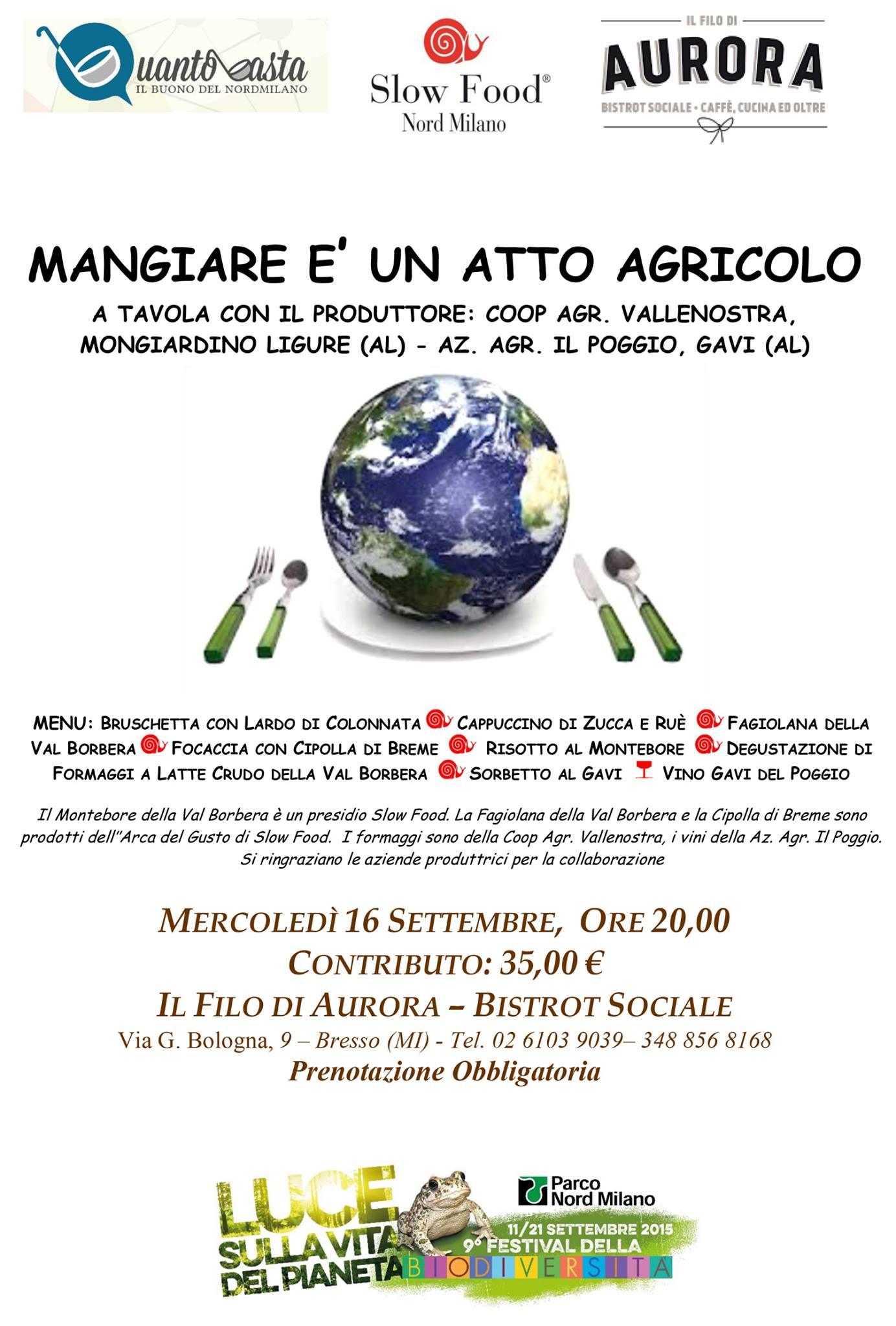 Mangiare è un atto agricolo! Mercoledì 16 settembre - Slow Food Nord Milano