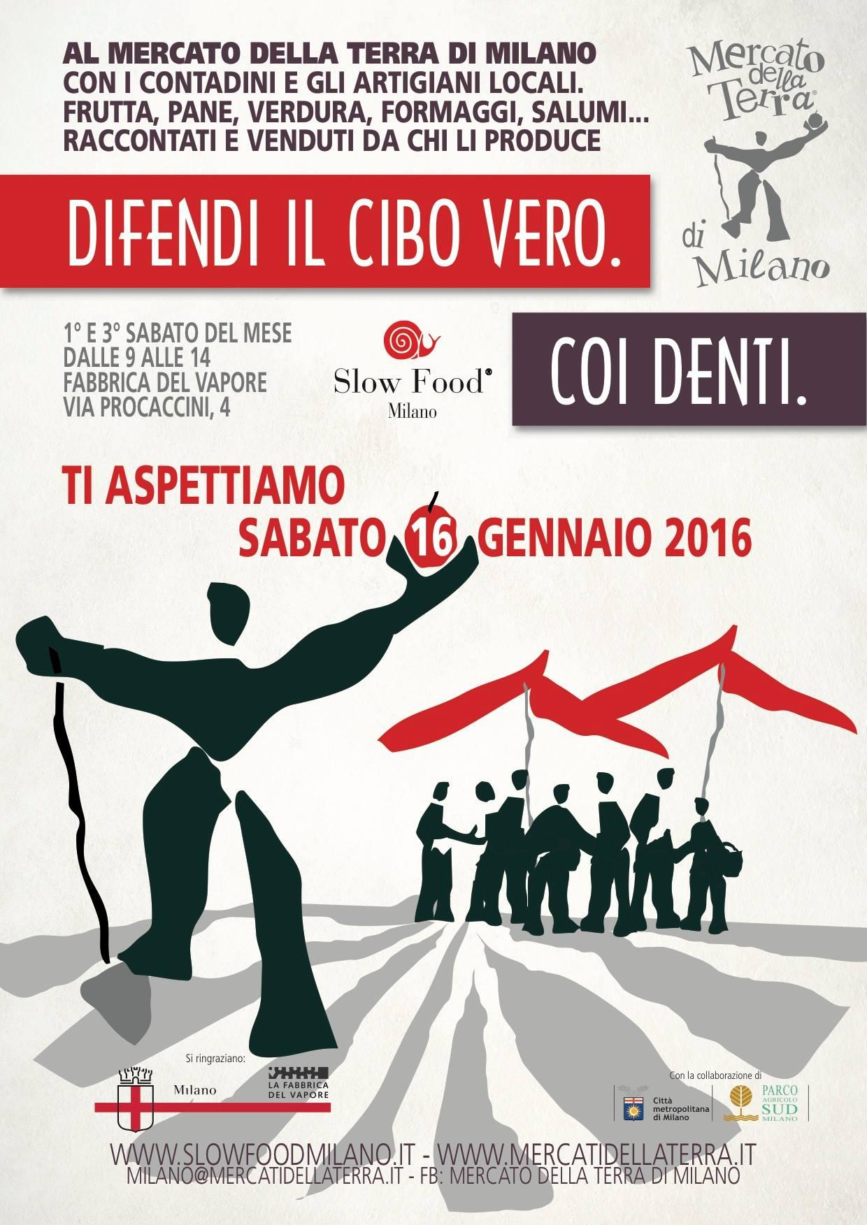 Sabato 16 gennaio, dalle 9 alle 14 torna il MERCATO DELLA TERRA di Milano