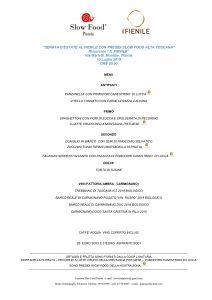 slow food pistoia - menù della cena al ristorante il fienile