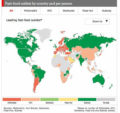 Qual è la catena di fast food più diffusa?