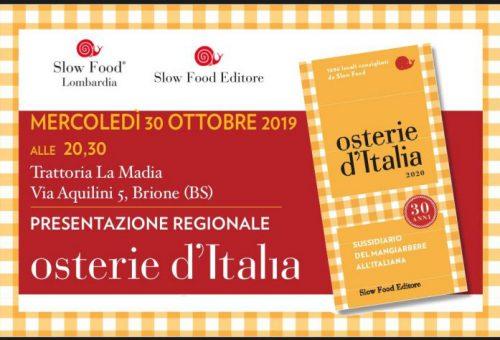 30 ottobre – Presentazione regionale della guida Osterie d'Italia 2020