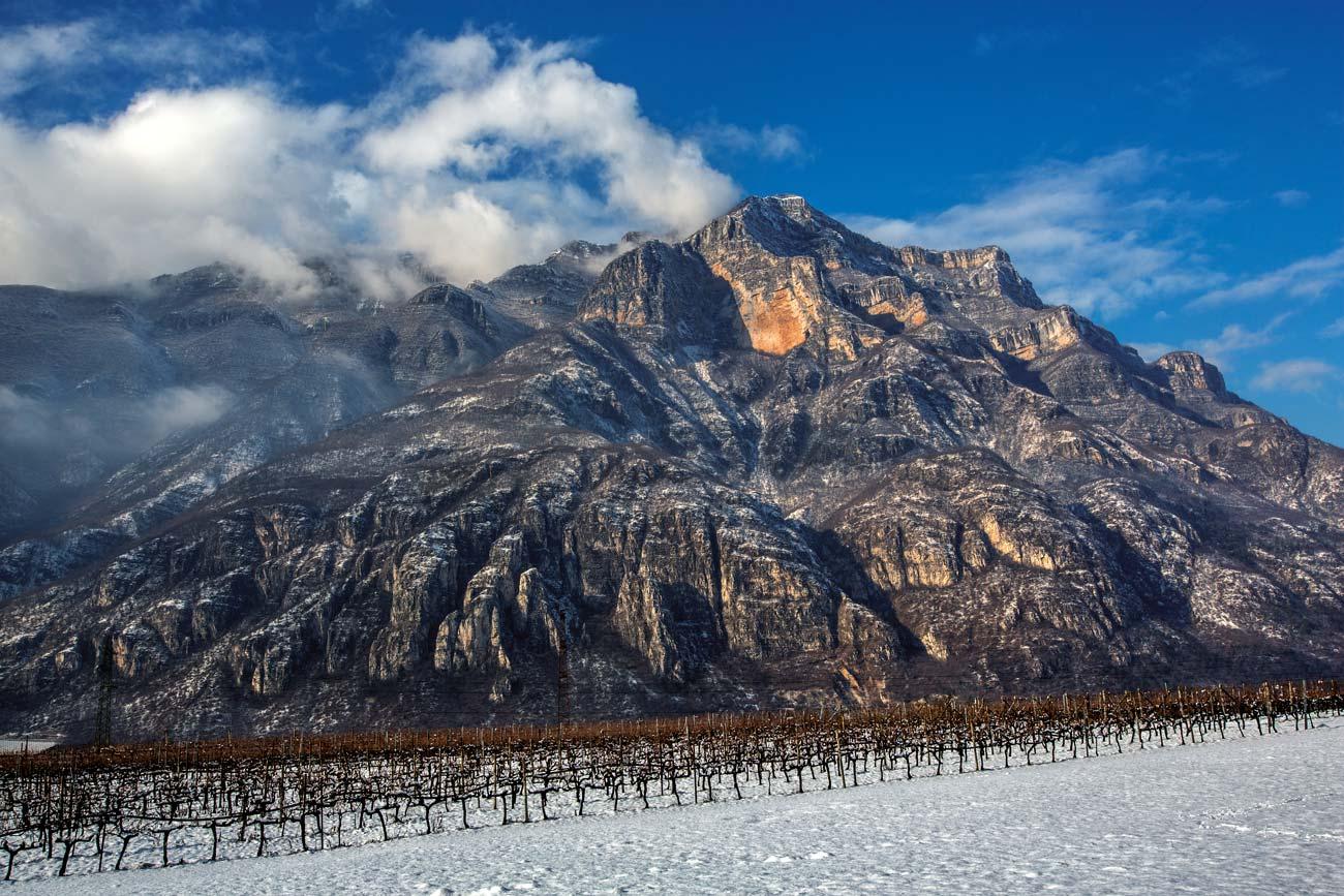 Il monte Baldo in inverno con ai suoi piedi vitigni ricoperti di neve