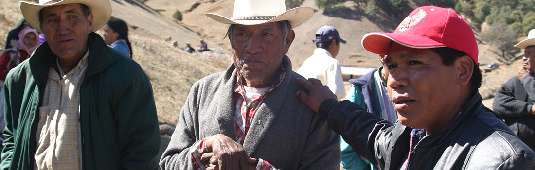 Isidro Baldenegro López (left), 2005 Goldman Environmental Prize Winner, North America (Mexico), with elders of the Tarahumara community, Coloradas de la Virgen, Chihuahua, where he opposes illegal logging operations.