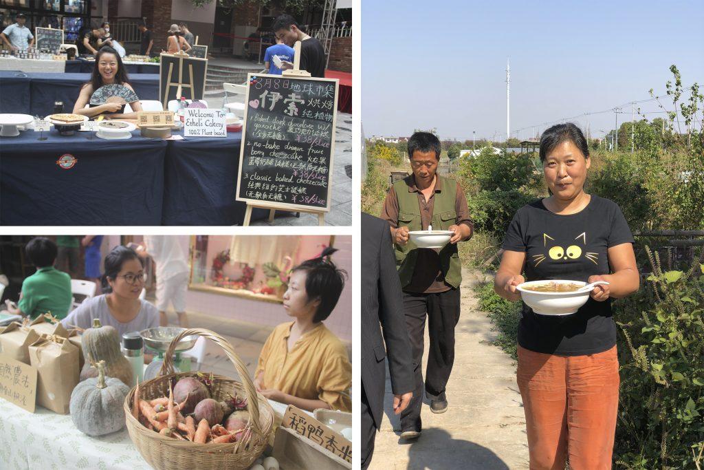 Wu Min Rose che porta tra le mani una zuppa e altri agricoltori